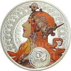 ARIES Horoscope Zodiac Mucha Silver Coin 1$ Niue 2011