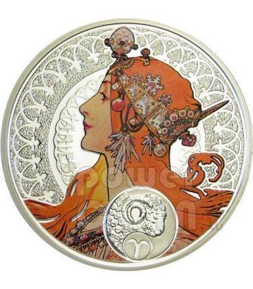 ARIES Horoscope Zodiac Mucha Silver Coin 1$ Niue Island 2011