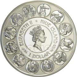 ARIES Horoscope Zodiac Mucha Moneda Plata 1$ Niue 2011