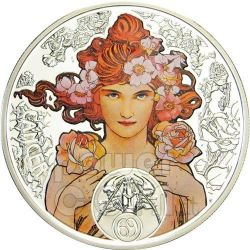 CANCER Horoscope Zodiac Mucha Silver Coin 1$ Niue 2011