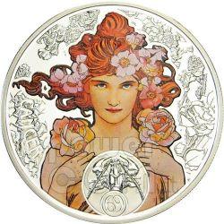 CANCER Horoscope Zodiac Mucha Silver Coin 1$ Niue Island 2011