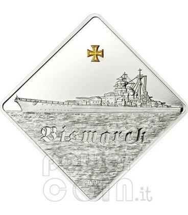 BISMARCK Battleship 2 Oz Silver Coin 10$ Palau 2009