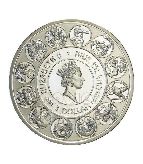 CANCER Horoscope Zodiac Mucha Silver Coin 1$ Niue 2011
