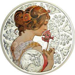 TAURUS Horoscope Zodiac Mucha Silber Münze 1$ Niue 2011