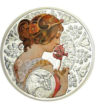 TORO Oroscopo Zodiaco Mucha Moneta Argento 1$ Niue Island 2011