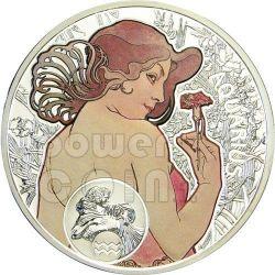 ACQUARIO Oroscopo Zodiaco Mucha Moneta Argento 1$ Niue Island 2011