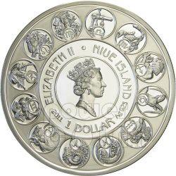 AQUARIUS Horoscope Zodiac Mucha Серебро Монета 1$ Ниуэ 2011