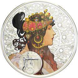 BILANCIA Oroscopo Zodiaco Mucha Moneta Argento 1$ Niue Island 2011
