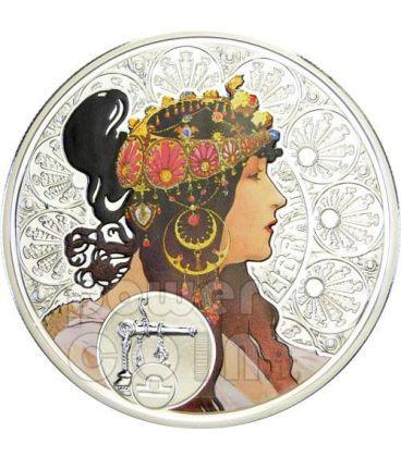 BILANCIA Oroscopo Zodiaco Mucha Moneta Argento 1$ Niue 2011