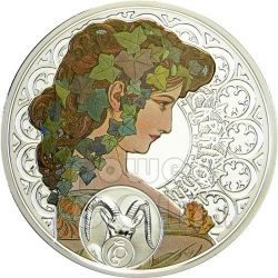 CAPRICORN Horoscope Zodiac Mucha Silber Münze 1$ Niue 2011