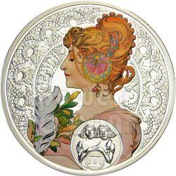 GEMINI Horoscope Zodiac Mucha Серебро Монета 1$ Ниуэ 2011