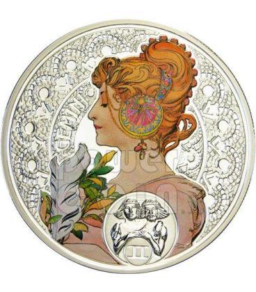 GEMINI Horoscope Zodiac Mucha Silver Coin 1$ Niue Island 2011