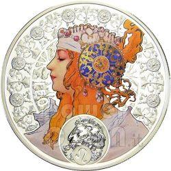 LEONE Oroscopo Zodiaco Mucha Moneta Argento 1$ Niue Island 2011