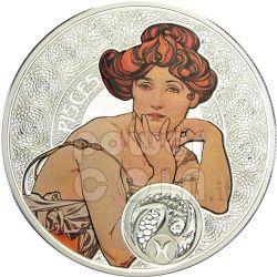 PISCES Horoscope Zodiac Mucha Серебро Монета 1$ Ниуэ 2011