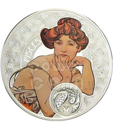 PESCI Oroscopo Zodiaco Mucha Moneta Argento 1$ Niue 2011