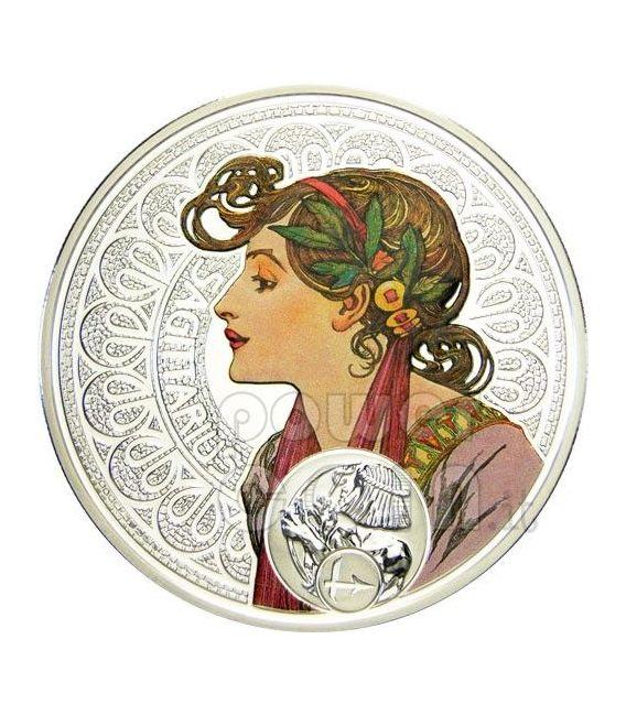 SAGITTARIUS Horoscope Zodiac Mucha Silver Coin 1$ Niue 2011