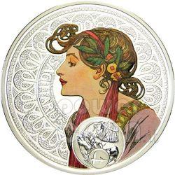 SAGITTARIO Oroscopo Zodiaco Mucha Moneta Argento 1$ Niue Island 2011