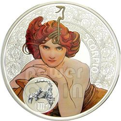 SCORPIONE Oroscopo Zodiaco Mucha Moneta Argento 1$ Niue 2011
