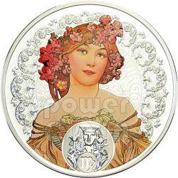 VIRGO Horoscope Zodiac Mucha Silber Münze 1$ Niue 2011
