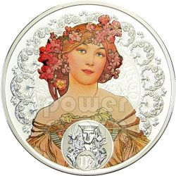 VIRGO Horoscope Zodiac Mucha Silver Coin 1$ Niue 2011