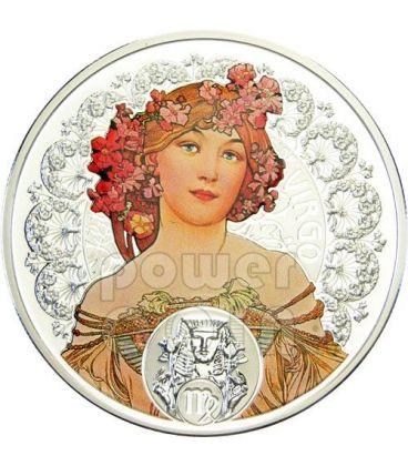 VERGINE Oroscopo Zodiaco Mucha Moneta Argento 1$ Niue Island 2011