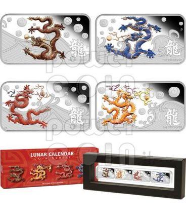 DRAGONE Anno Lunare Set 4 Monete Rettangolari Argento 1$ Cook Islands 2012