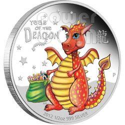 BABY DRAGON Lunar Year 1/2 Oz Silver Proof Coin 50c Tuvalu 2012