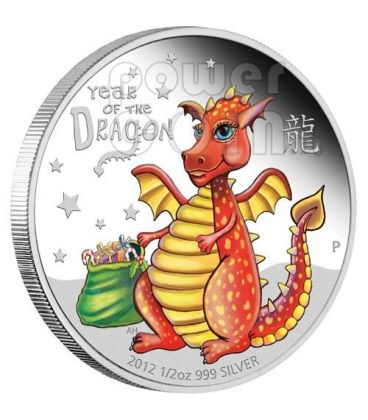 BABY DRAGON Dragone Lunar Serie Moneta Argento Proof 1/2 Oz 50c Tuvalu 2012