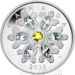 SNOWFLAKE TOPAZ Silver Coin Swarovski 20$ Canada 2011