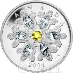 SNOWFLAKE TOPAZIO Moneta Argento Swarovski 20$ Canada 2011