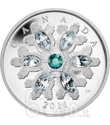 SNOWFLAKE SMERALDO Moneta Argento Swarovski 20$ Canada 2011