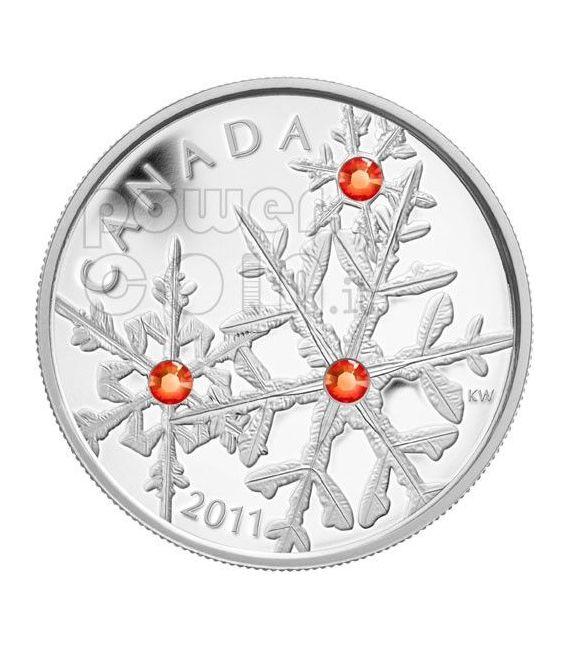 SMALL SNOWFLAKE HYACINTH Red Silber Münze Swarovski 20$ Canada 2011
