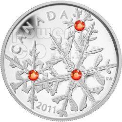 SMALL SNOWFLAKE HYACINTH Red Silver Coin Swarovski 20$ Canada 2011
