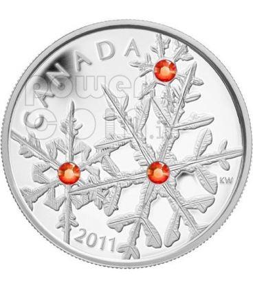 SMALL SNOWFLAKE ROSSO Giacinto Moneta Argento Swarovski 20$ Canada 2011