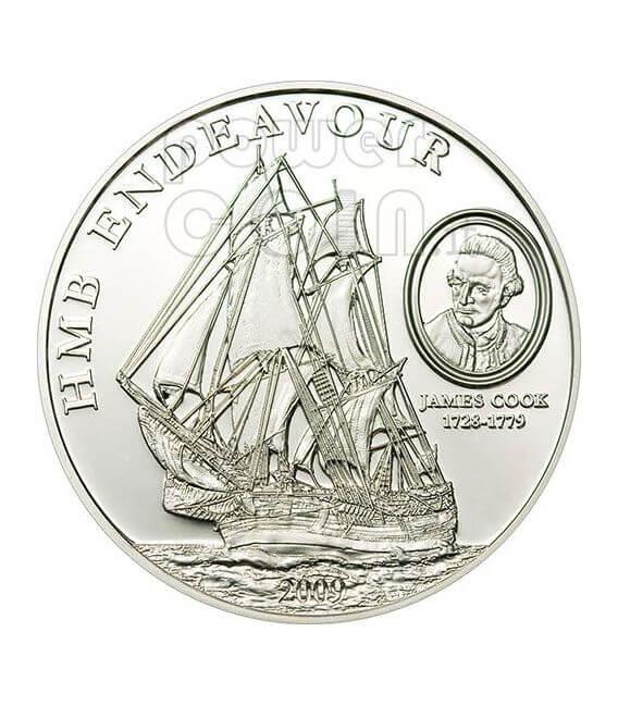 HMB ENDEAVOUR JAMES COOK Moneta Argento 5$ Cook Islands 2009