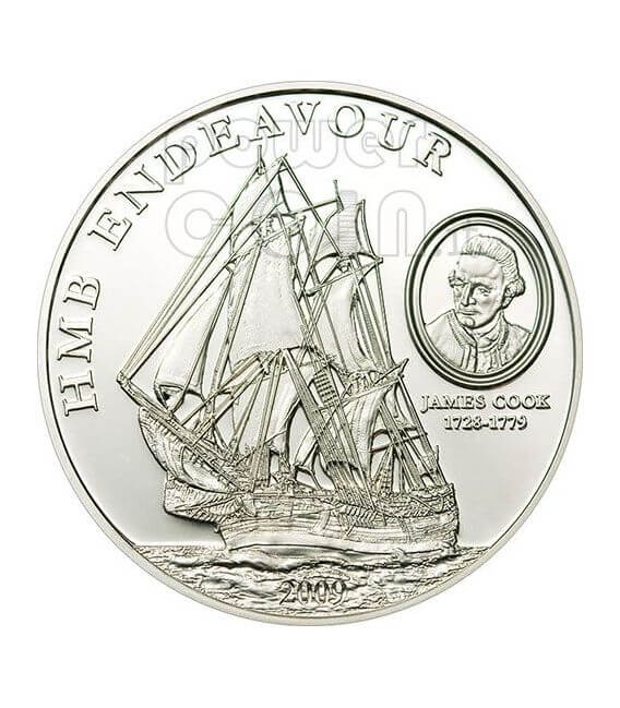 HMB ENDEAVOUR JAMES COOK Silver Coin 5$ Cook Islands 2009