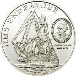 HMB ENDEAVOUR JAMES COOK Silber Münze 5$ Cook Islands 2009