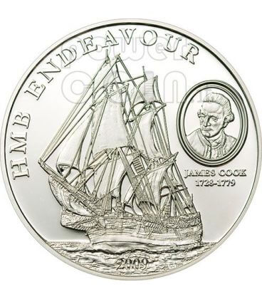 HMB ENDEAVOUR JAMES COOK Moneta Argento 5$ Cook Islands 2009