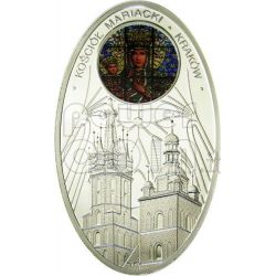 GOTHIC CATHEDRALS MARIACKI CHURCH Cracow St. Mary Basilica Silver Coin 1$ Niue Island 2011