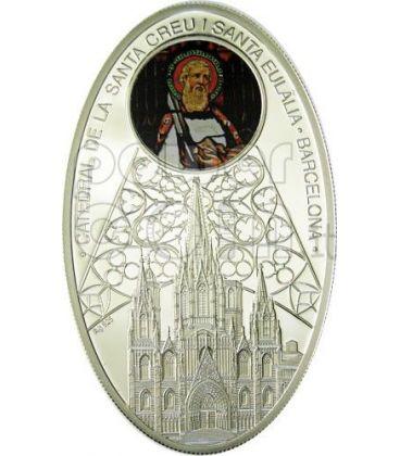 CATTEDRALI GOTICHE BARCELLONA Santa Creu i Santa Eulalia Cattedrale Moneta Argento 1$ Niue Island 2011