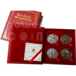 THREE MUSKETEERS Athos Porthos Aramis D'Artagnan 4 Silver Coin Set Zirconia Belarus 2009