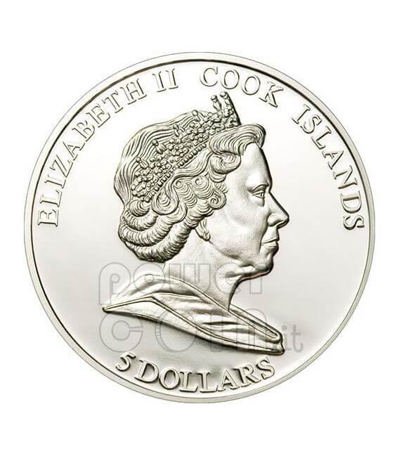 HMB ENDEAVOUR JAMES COOK Moneda Plata 5$ Cook Islands 2009