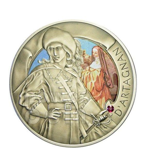 I TRE MOSCHETTIERI Athos Porthos Aramis D'Artagnan Set 4 Monete Argento Zirconi Bielorussia 2009