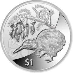 KIWI TREASURES KOWHAI FLOWER Silver Proof Coin 1$ New Zealand 2011