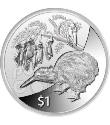 KIWI FIORE KOWHAI Treasures Moneta Argento 1$ Nuova Zelanda 2012