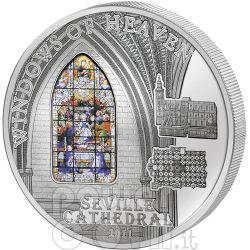 WINDOWS OF HEAVEN SEVILLE Sevilla Cathedral Moneda Plata 10$ Cook Islands 2011