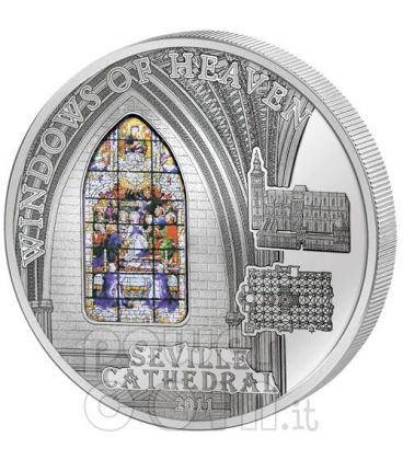 WINDOWS OF HEAVEN SEVILLE Sevilla Cathedral Silver Coin 10$ Cook Islands 2011