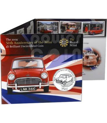 MINI COOPER 50 Anni Moneta £5 BU Alderney UK Royal Mint 2009