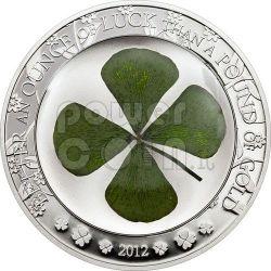 FOUR LEAF CLOVER Ounce Of Luck Silver Coin 5$ Palau 2012