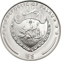 FOUR LEAF CLOVER Ounce Of Luck Moneda Plata 5$ Palau 2012